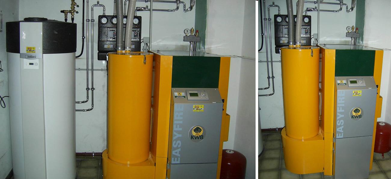 KWB Easyfire 15kW Pelletsheizungsanlage. Zur Warmwasserbereitung dient eine Vaillant Brauchwasserwärmepumpe!