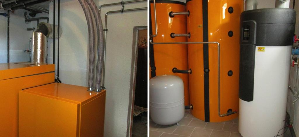ETA Twin Anlage Holzvergaserkessel mit Pelletsbrenner 30/26 kW Leistung 2 x 1.100l Schicht- pufferspeicher und eine Brauchwasserwärmepumpe zur Warmwasserbereitung. [Familie Koll, Rohrbach]