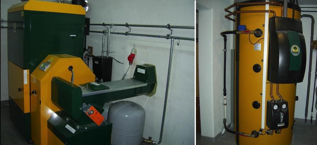 Hackgutheizung KWB Multifire Leistung 30kW! Es werden über eine Fernwärmeleitung 2 Häuser beheizt und Warmwasser bereitet! Haus 1 jun. hat einen 1.000 l KWB Schichtpufferspeicher mit Frischwassermodul zur Warmwasserbereitung [ Fam. Trauner jun Olbersdorf]