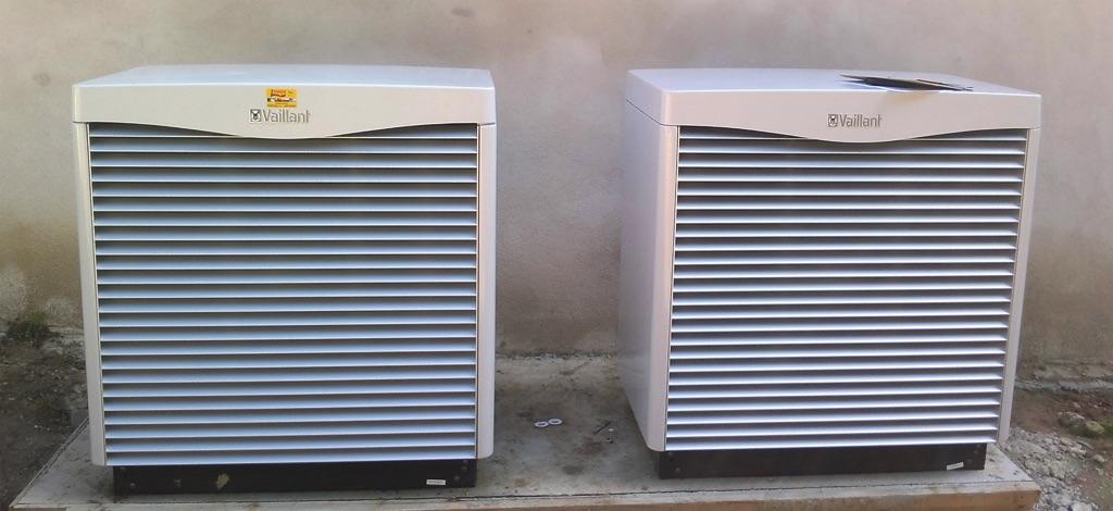 Luft-Wasser Wärmepumpe Vaillant Leistung 15,6 kW, mit 2 Außeneinheiten, 500 l Pufferspeicher und 500 l Warmwasserspeicher [Familie Zeilinger, Pfaffstetten]