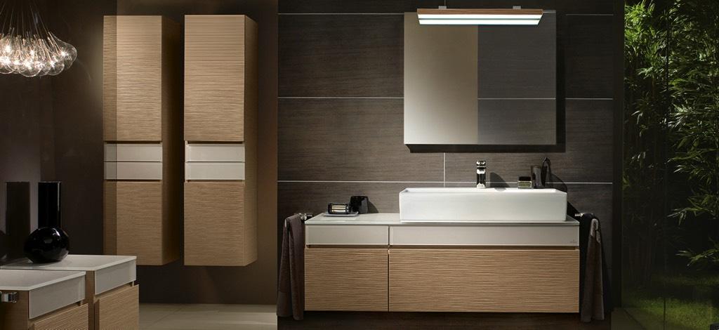Waschtischanlage Laufen Allessio one mit Standarmaturen, Design Spiegelschrank WC Tiefspüler und Bidet [Natürlich Lehner Haustechnik]